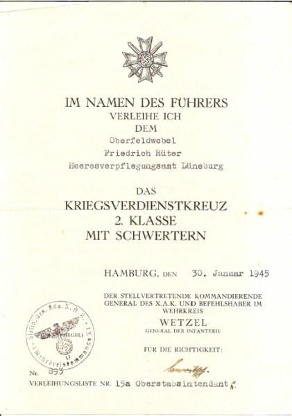 Kriegsverdienstkreuz-2.-Klasse-Freidrich-Rüter